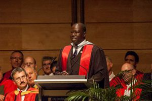 The Rev. Cn. Dr. Alfred Olwa speaking at Moore College in Sydney, Australia.
